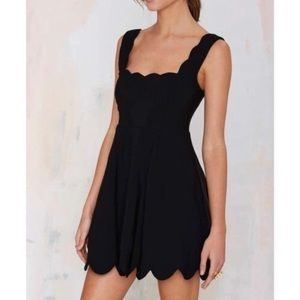 [Nasty Gal] Black Scallop Mini Dress - Size Small